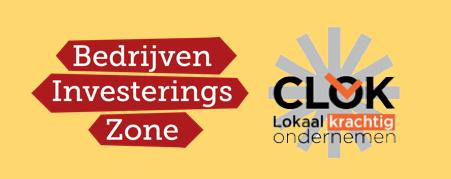 Logo's BedrijveninvesteringszoneingsZone.BIZ en Stichting CLOK